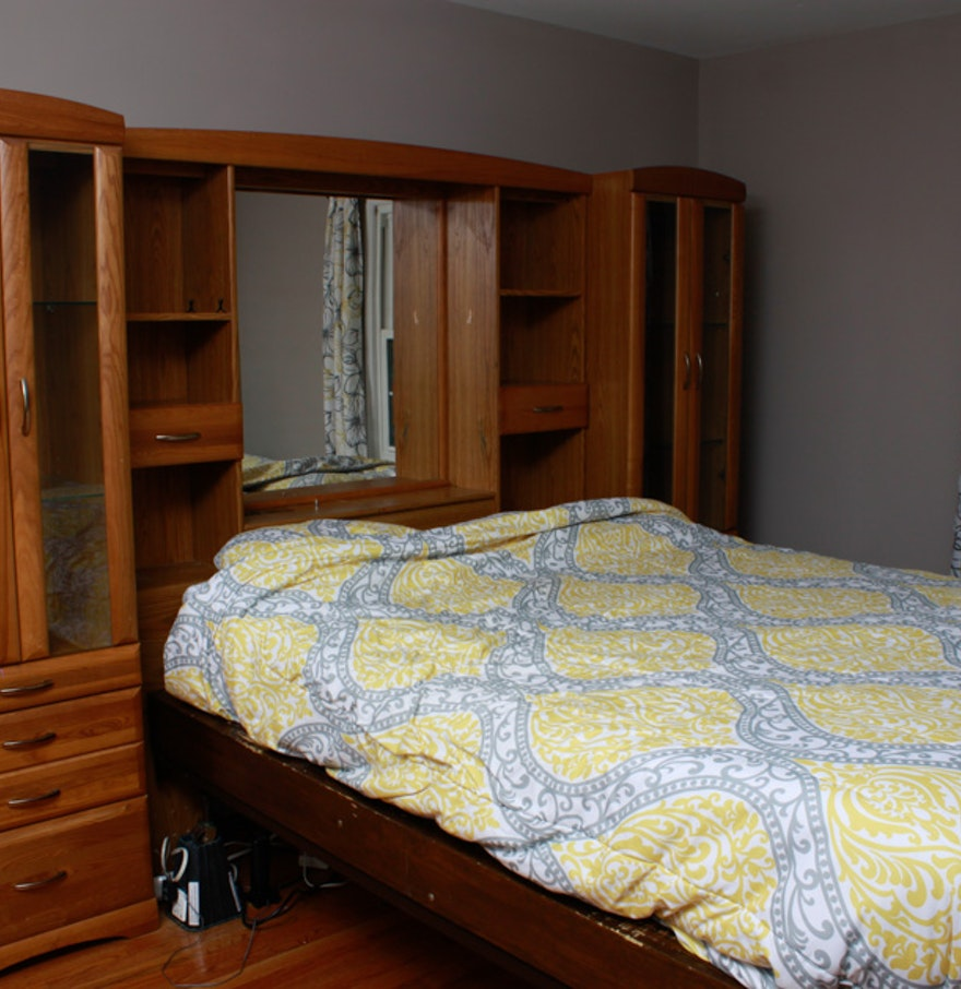 Queen bed with wall unit storage headboard ebth for Headboard storage unit