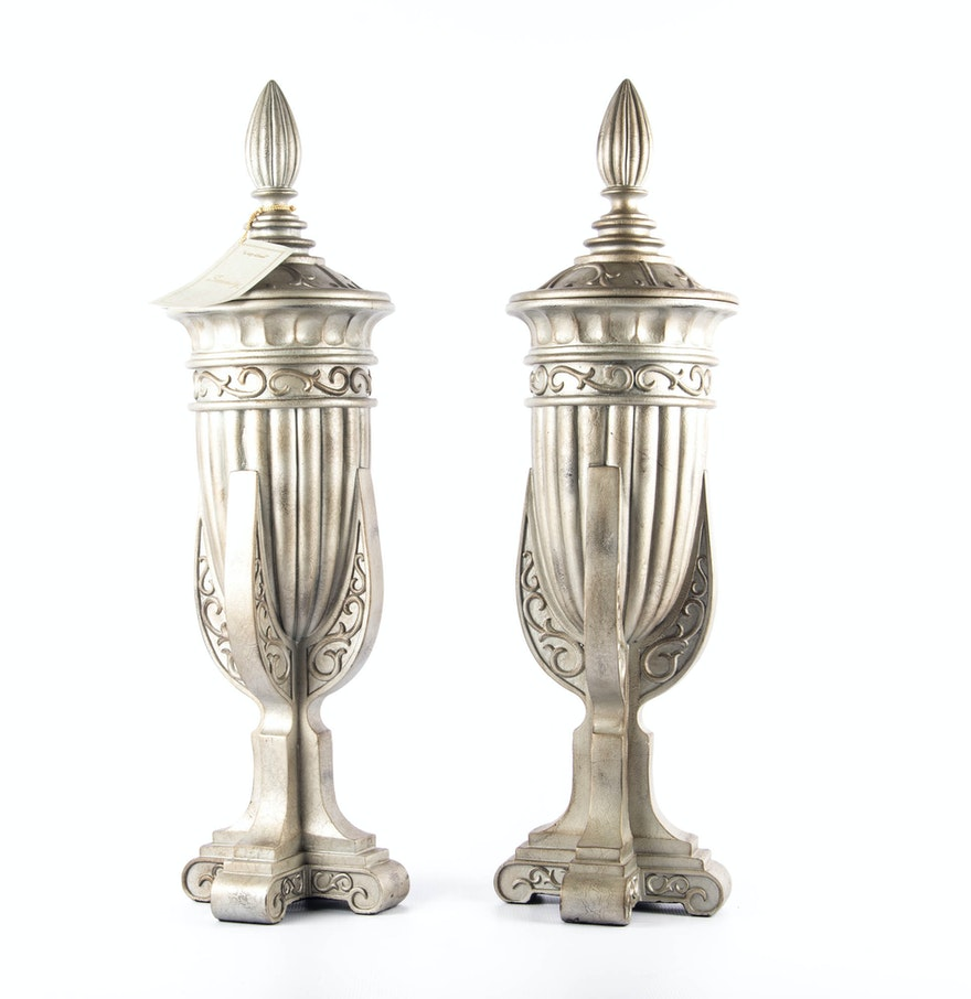 Pair Of Serenity Home Fashions Decorative Urns Ebth