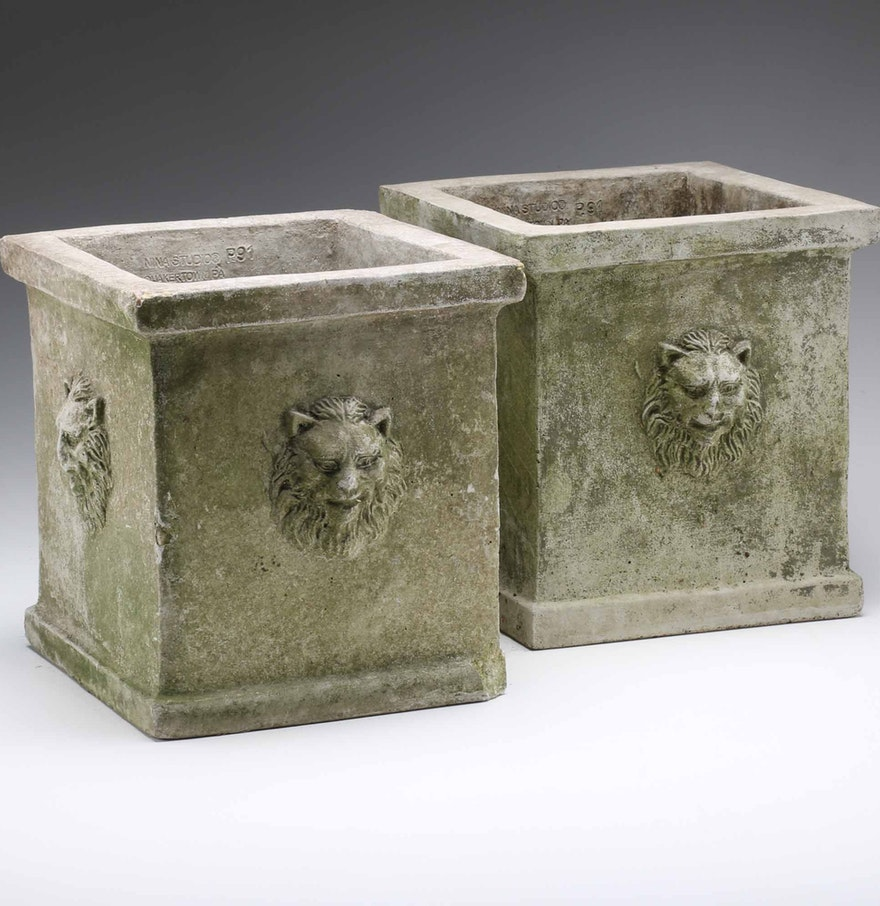Pair of Square Concrete Planters with Lion Head Motif : EBTH