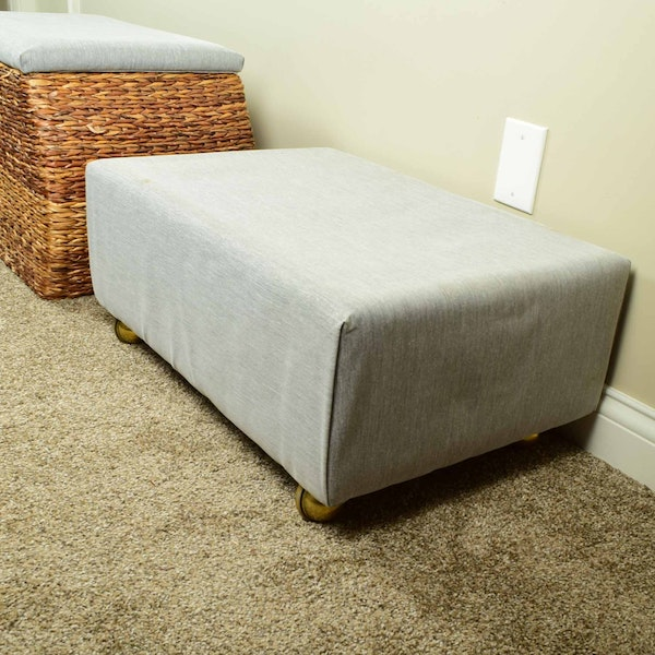 Rattan Storage Bench And Fabric Ottoman Ebth