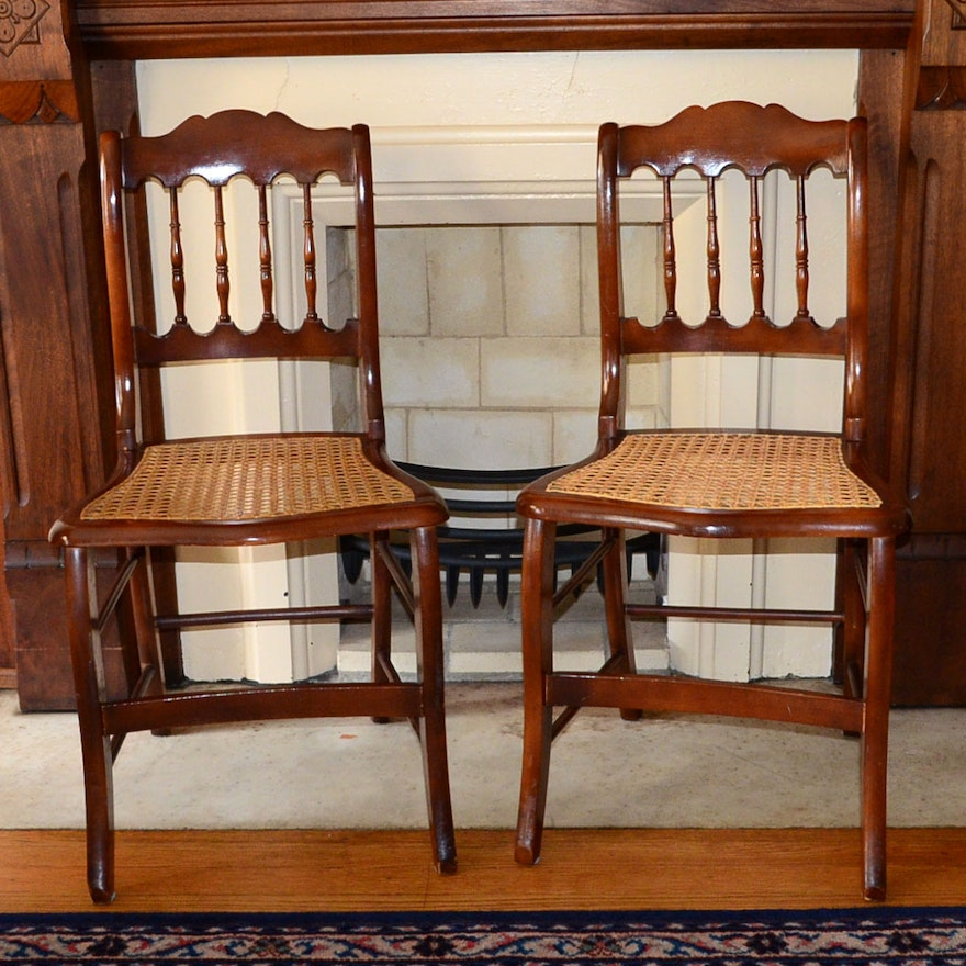 Pair Of Cane Bottom Chairs With Curved Bar For Hoop Skirts ... - Pair Of Cane Bottom Chairs With Curved Bar For Hoop Skirts : EBTH
