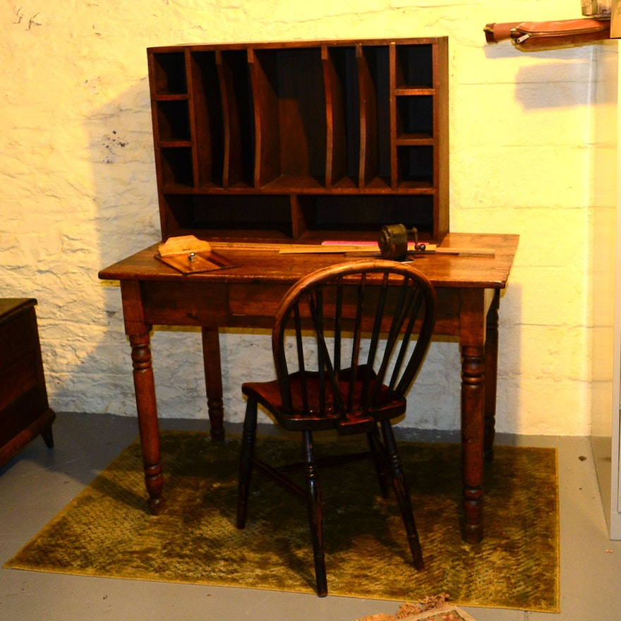 Antique 19th Century Table Desk, Windsor Chair and Post Office Sorting  Cabinet ... - Antique 19th Century Table Desk, Windsor Chair And Post Office