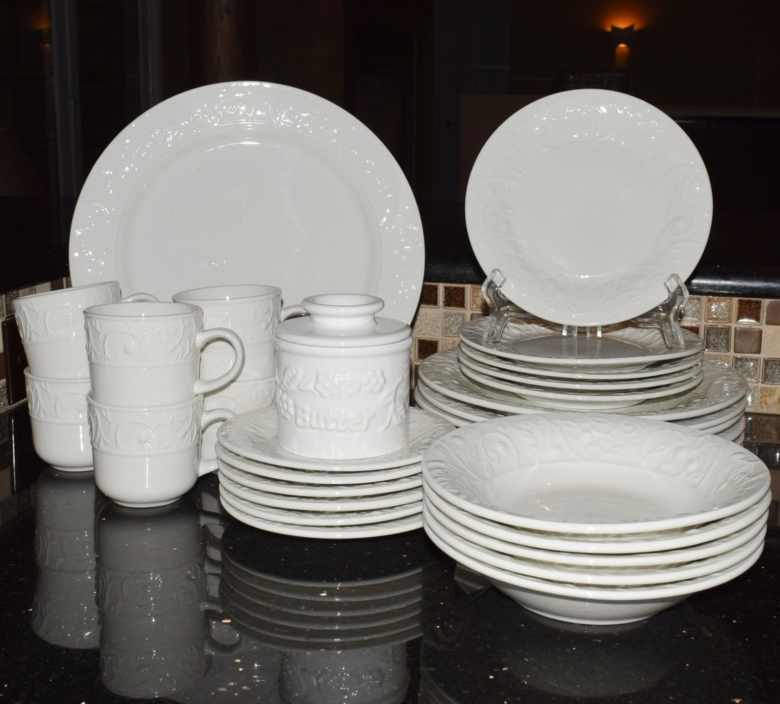 The Cellar \ Tanglewood\  White China Dinnerware ... & The Cellar \