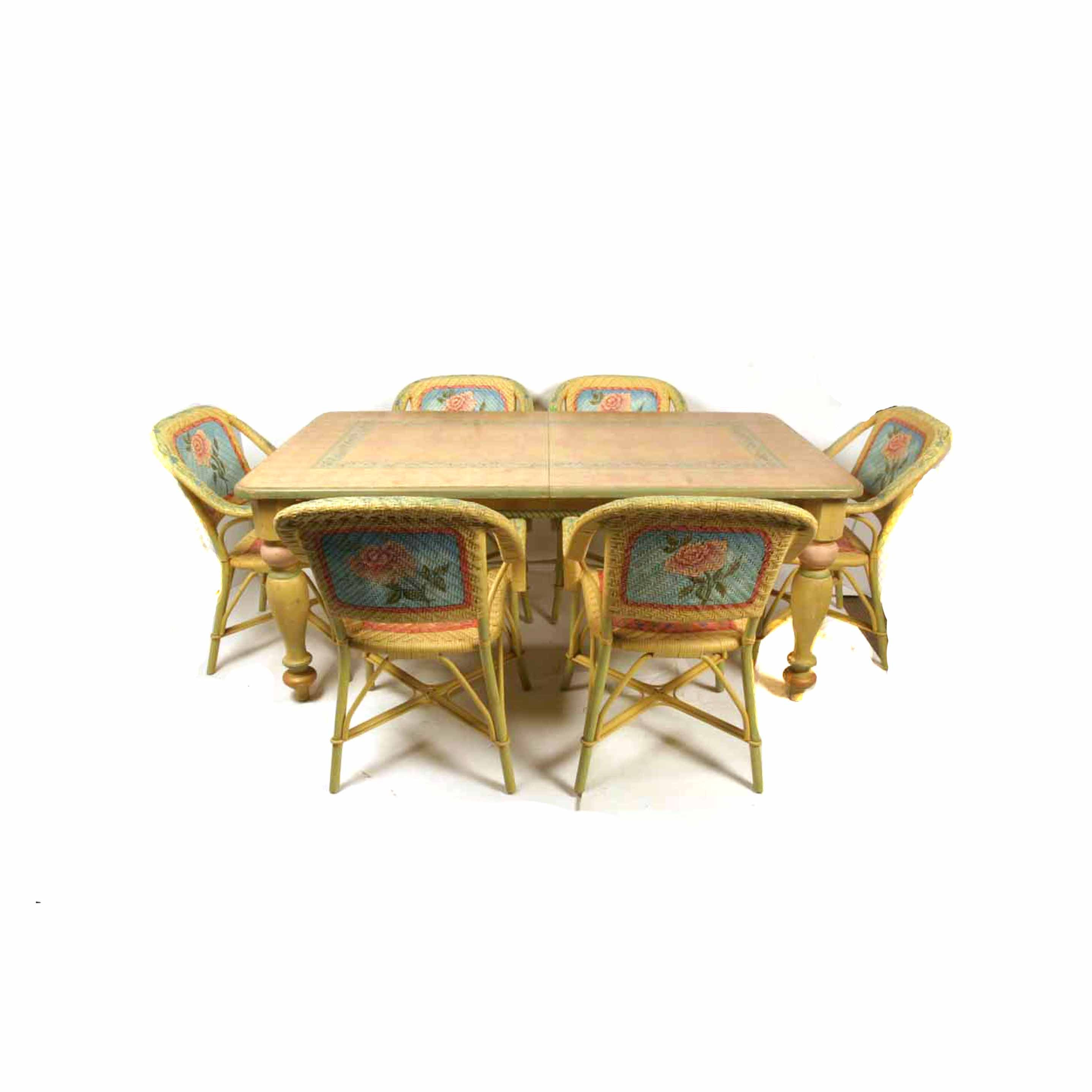 Hand Painted Dining Table with Six Chairs