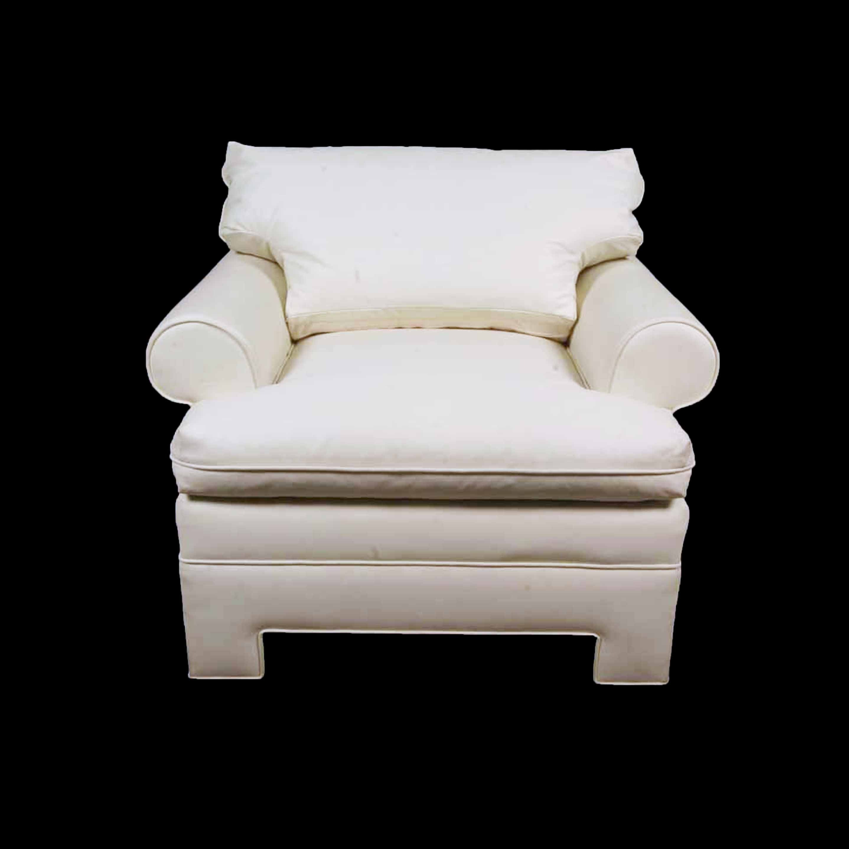 Cream Leather Upholstered Club Chair