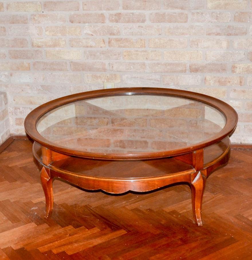 True Grand Rapids Mahogany Glass Top Coffee Table Ebth