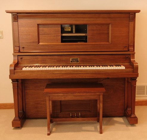Capen Upright Player Piano with Milner Player and Solid Mahogany Case.