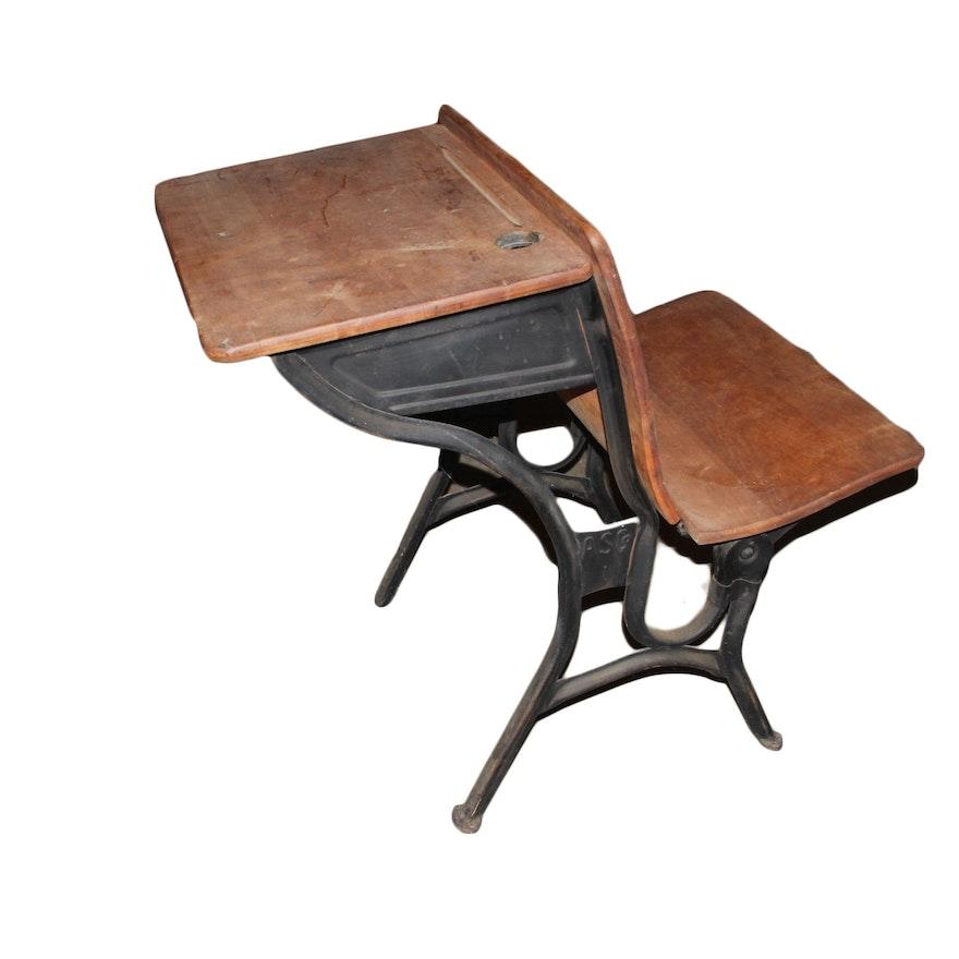 Antique Cast Iron and Wood School Desk ... - Antique Cast Iron And Wood School Desk : EBTH