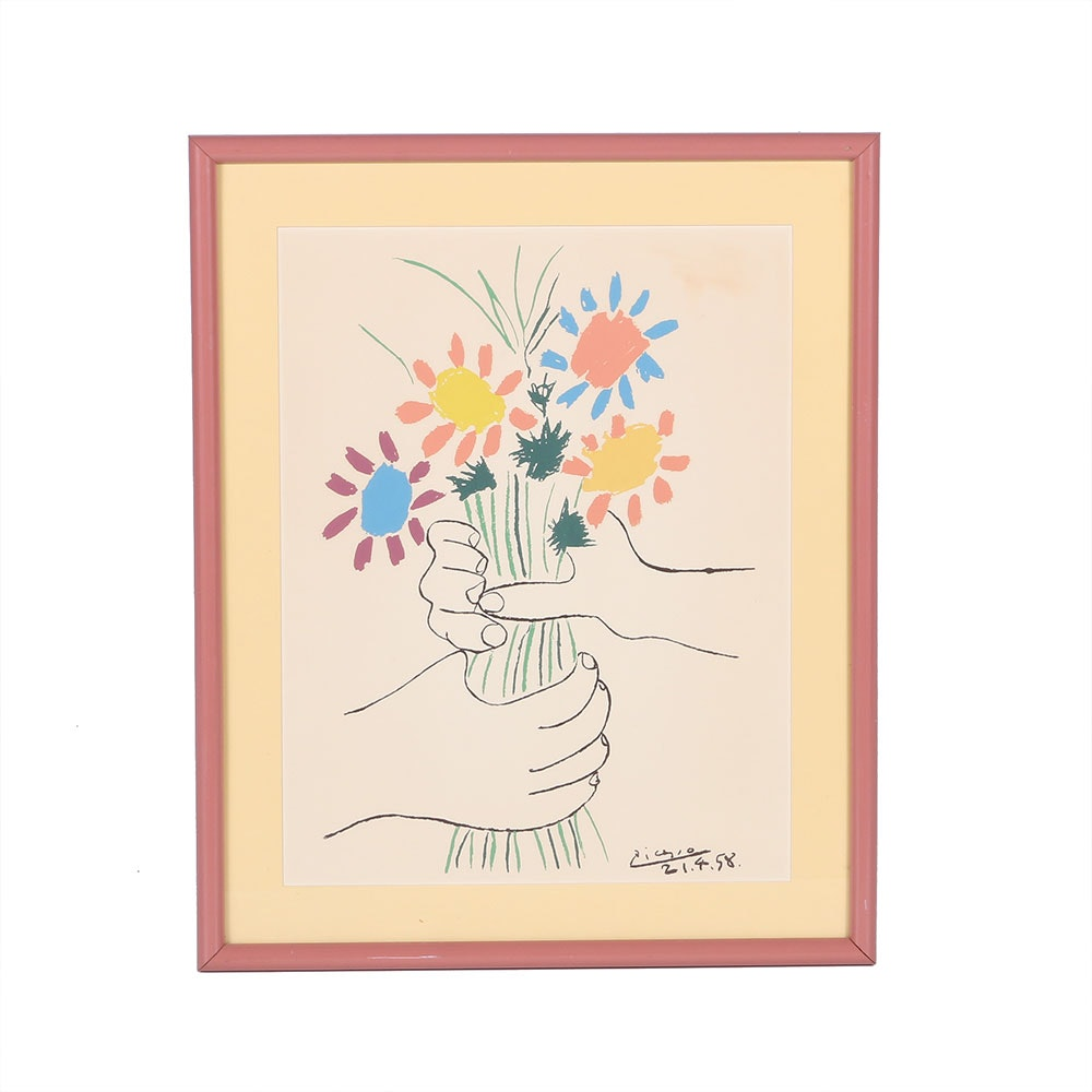 reproduction picasso bouquet of peace framed lithograph ebth. Black Bedroom Furniture Sets. Home Design Ideas