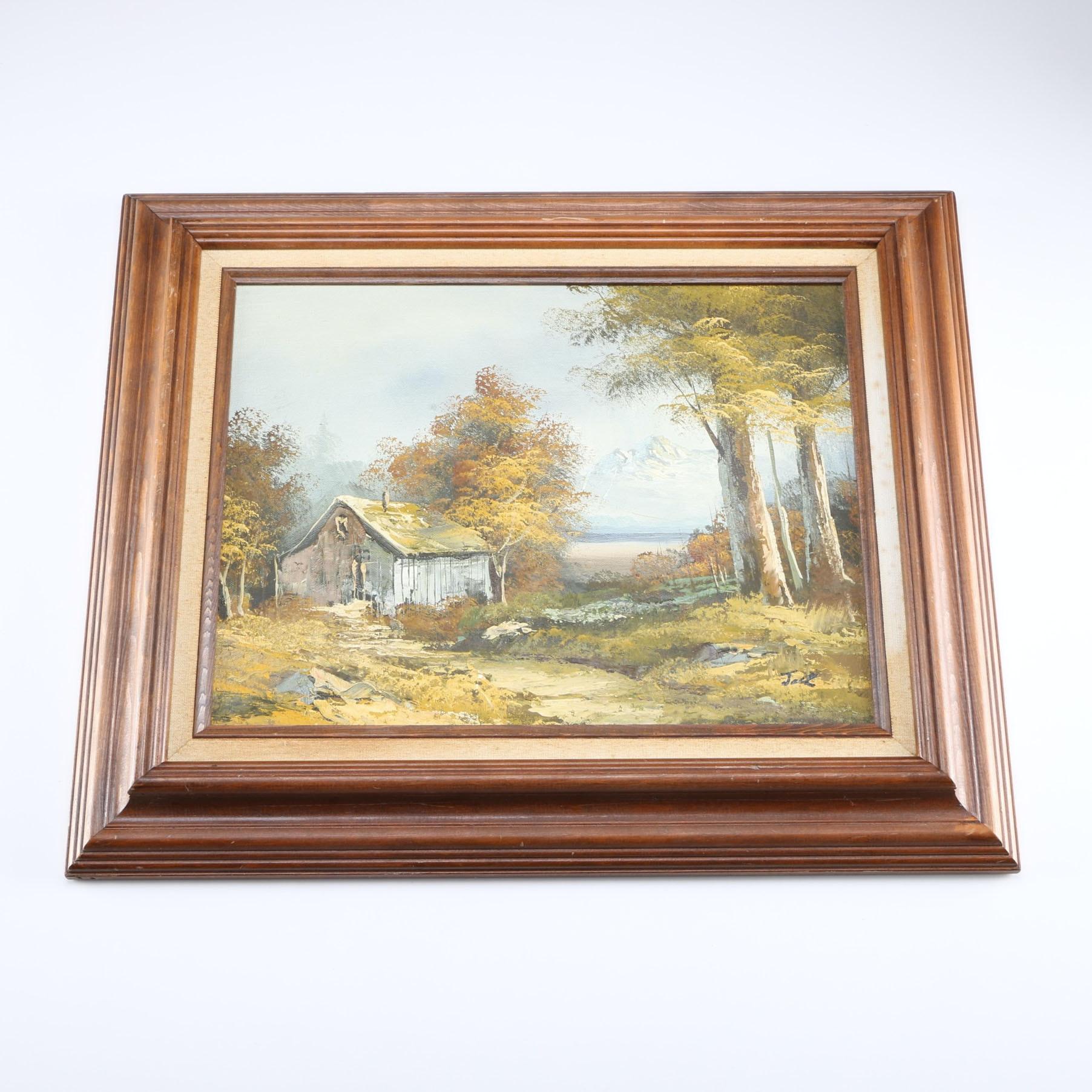 Signed Vintage Framed Acrylic Landscape