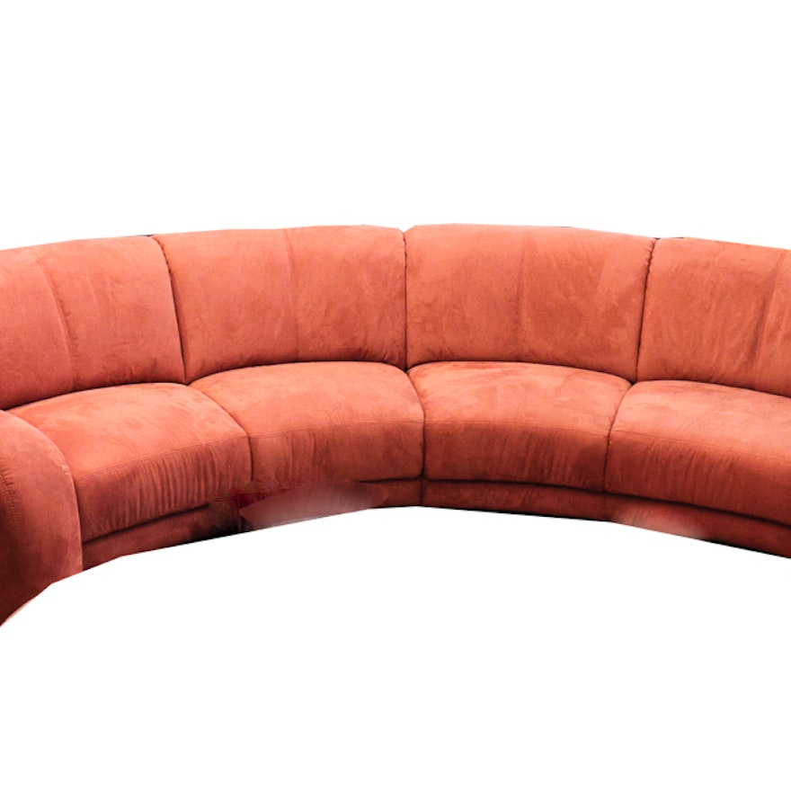 Large, Red Curved Sofa : EBTH
