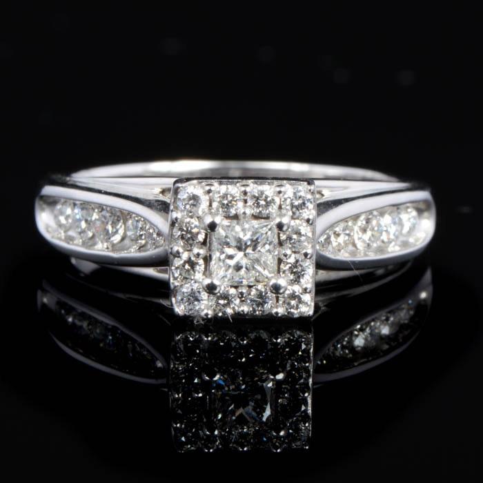 0.50 CTW Diamond and 10K White Gold Keepsake Melody Engagement Ring