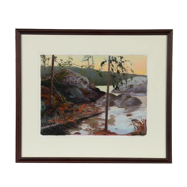 "Michael L. Scott Oil on Paper ""Lake Superior"""