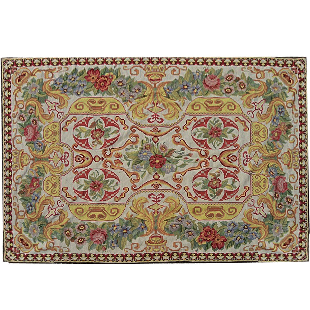 French Aubusson Style Wool Needepoint Rug