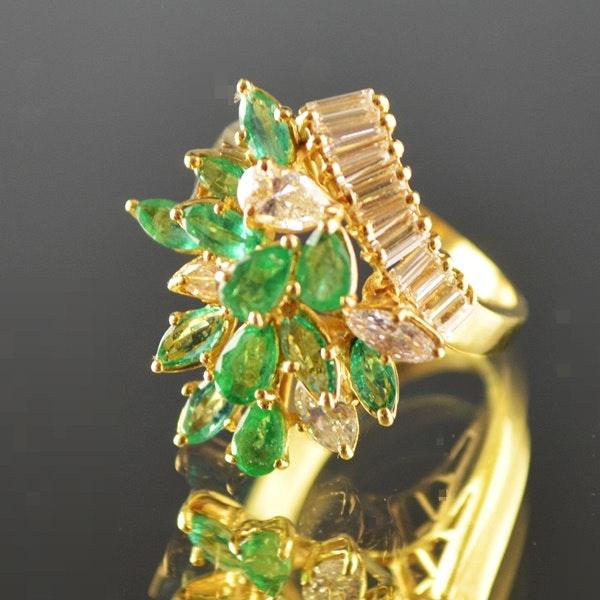 18K Yellow Gold Diamond and Emerald Dinner Ring