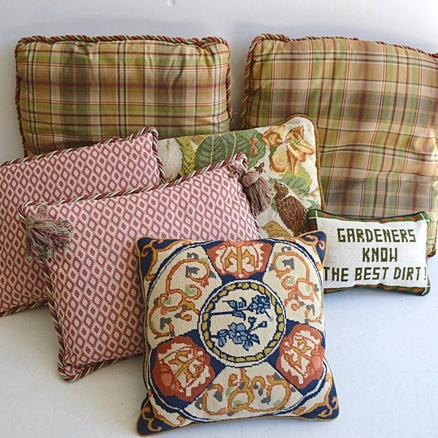 Designer Pillow Group, with Two Hand StitchedNeedlepoint Pillows