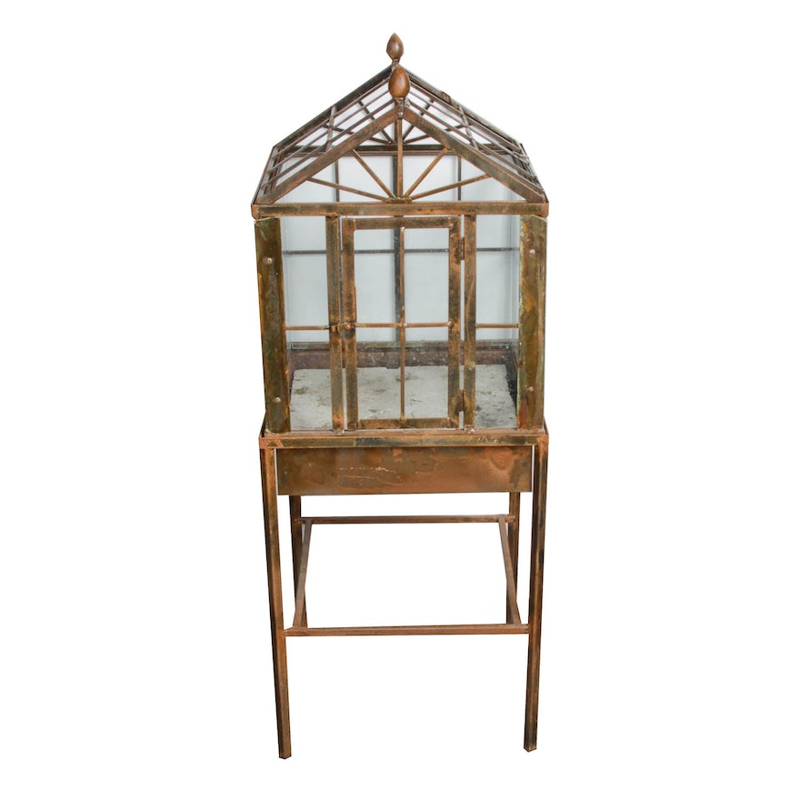 Large Metal And Glass Terrarium With Stand Ebth