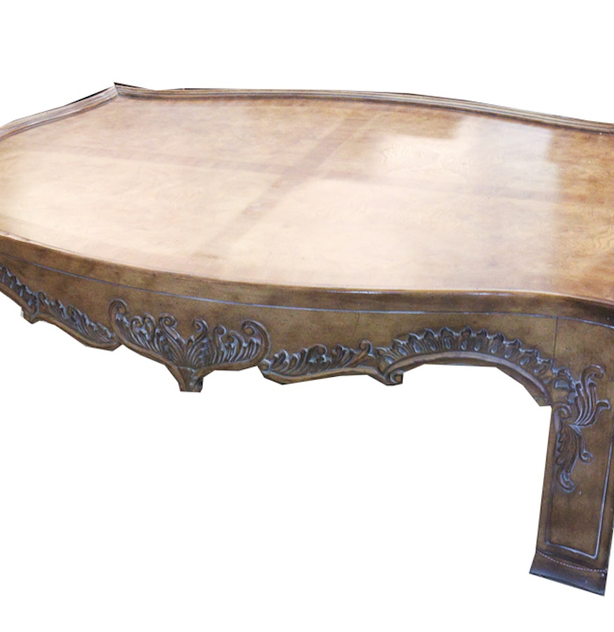 Asian Style Ornate Wood Coffee Table Ebth