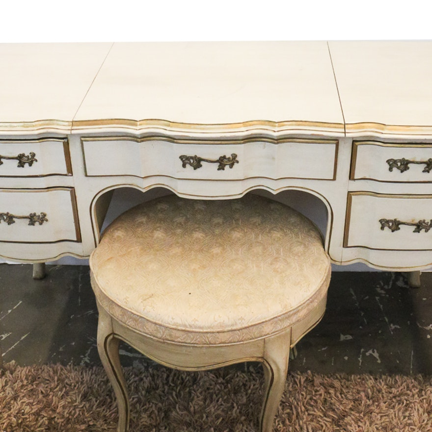 White Furniture Company French Provincial Poudre Table And