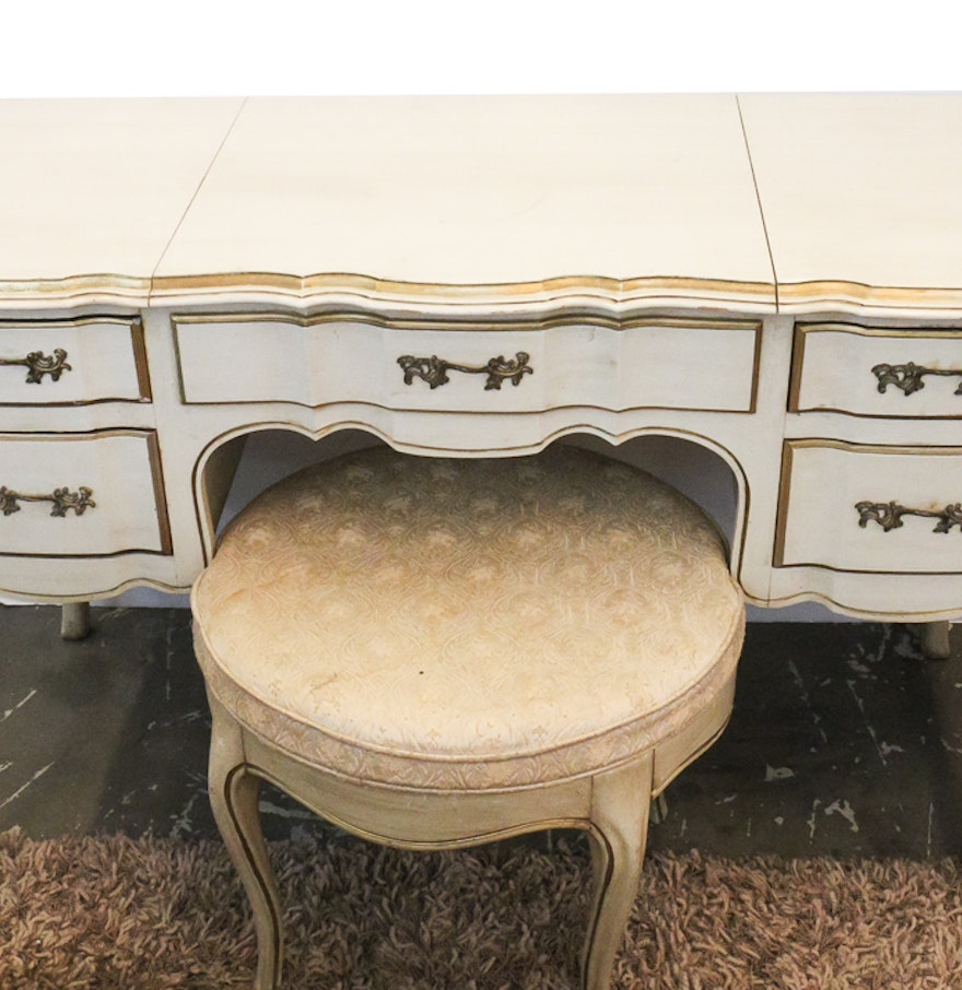 White Furniture Company French Provincial Poudre Table And Stool Ebth