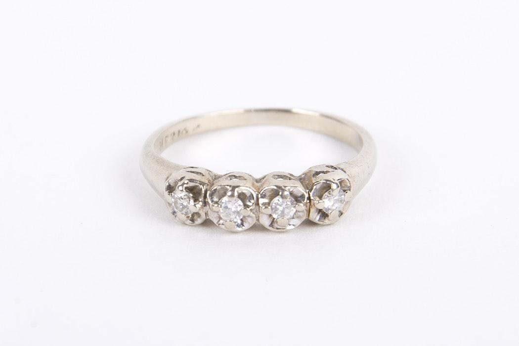 14 Karat White Gold Four Stone Diamond Ring