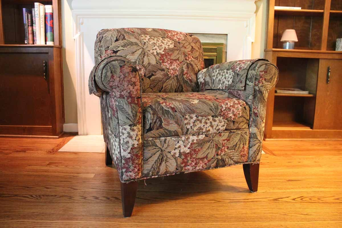 Floral Upholstered Club Chair