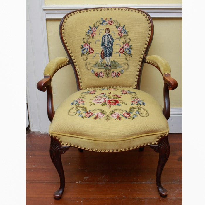 Antique French Provincial Walnut Fauteuil Chair