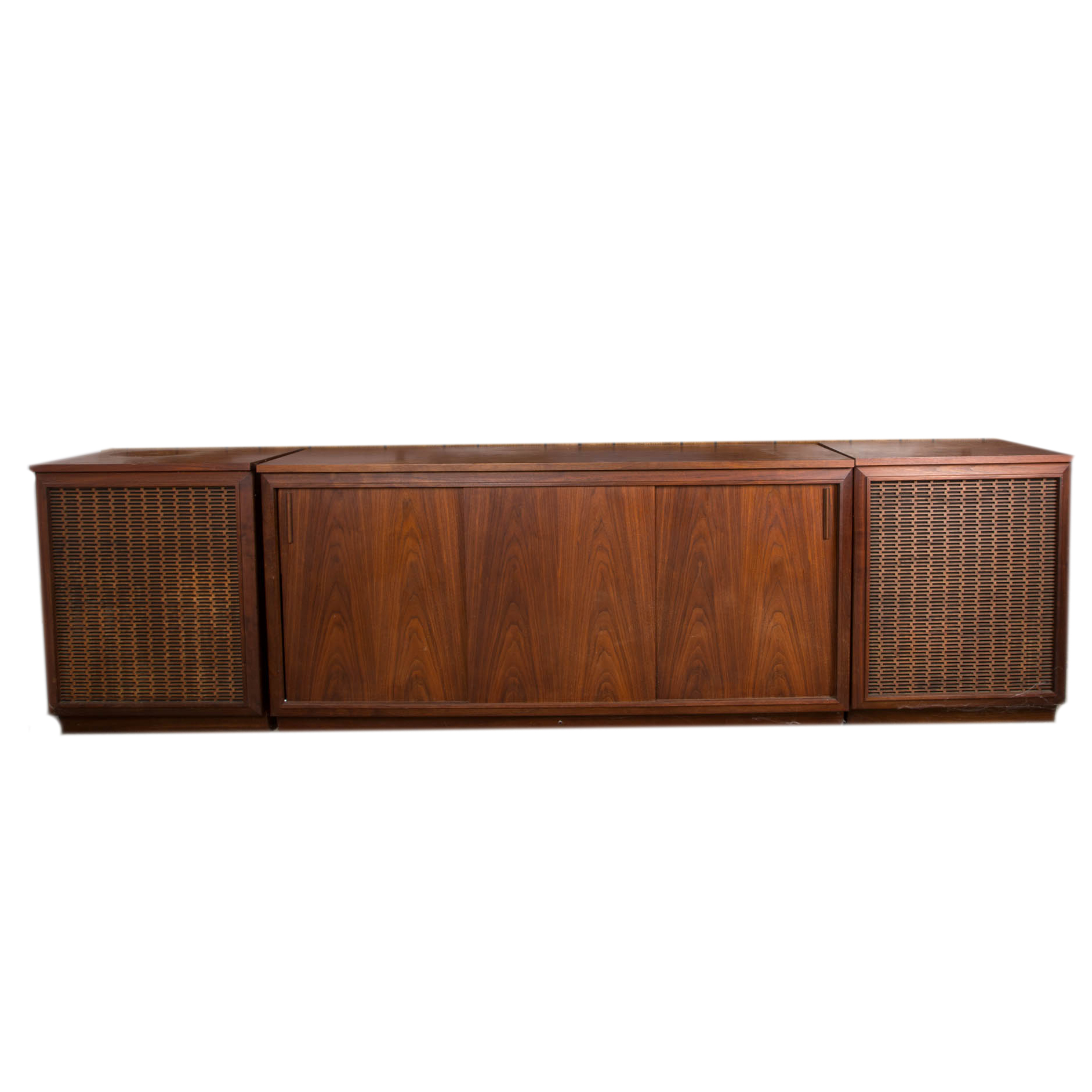 Mid-Century Barzilay Walnut Stereo Console with External Speakers ...