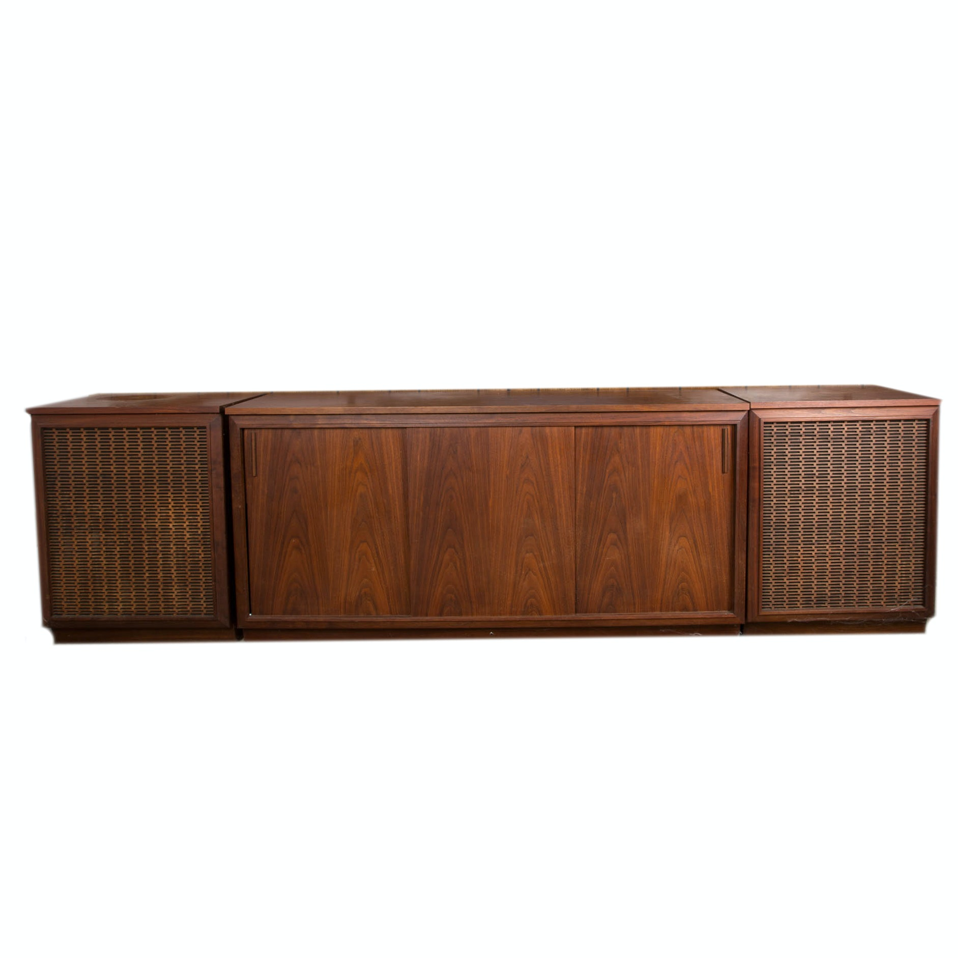 Mid-Century Barzilay Walnut Stereo Console with External Speakers