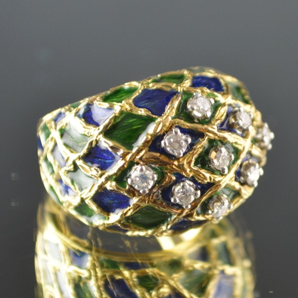 14K Yellow Gold Diamond Blue and Green Enamel Dome Ring