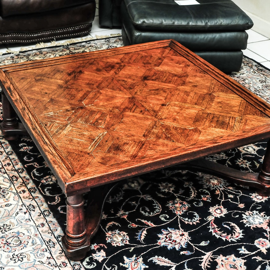 Square Glass And Oak Coffee Table: Square Oak Parquet Top Coffee Table