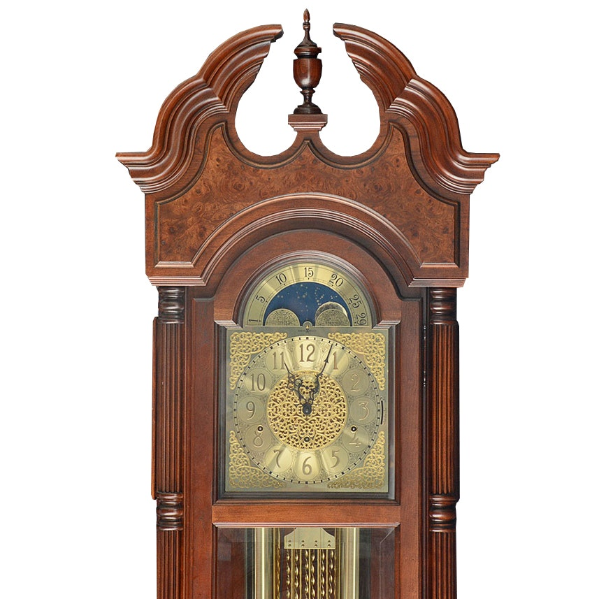 1988 Howard Miller Burl Wood Grandfather Clock with Moon Dial