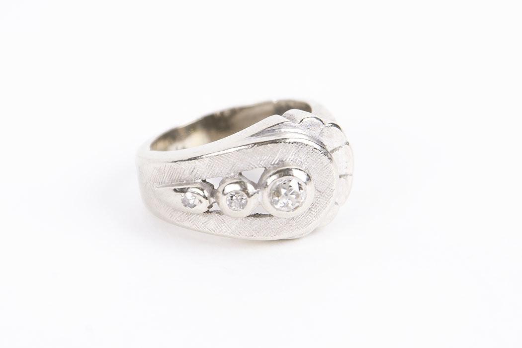 14 Karat White Gold Three Diamond Ring