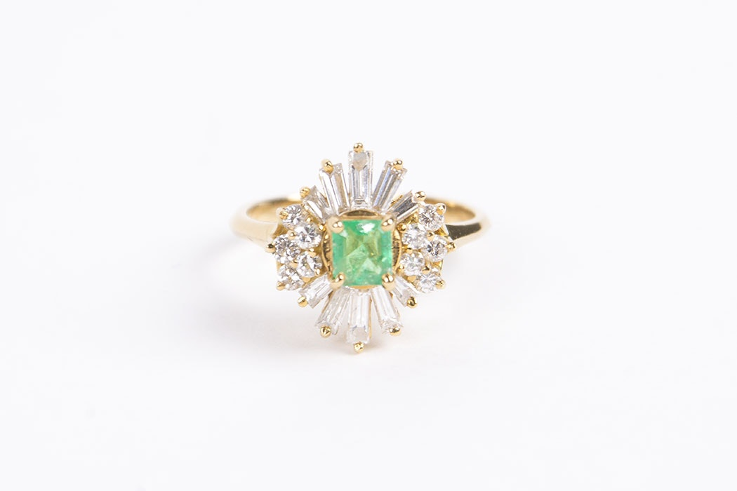 18 Karat Emerald and Diamond Ring