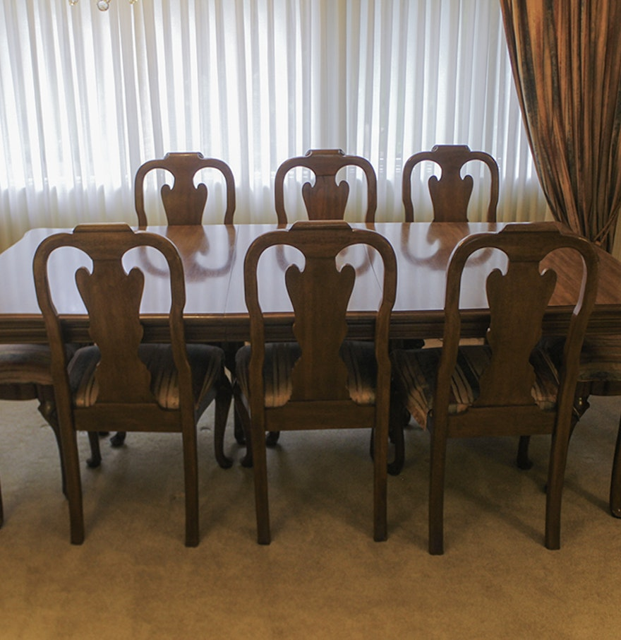 Davis Cabinet Co. Walnut Queen Anne Dining Table and Twelve Chairs ...