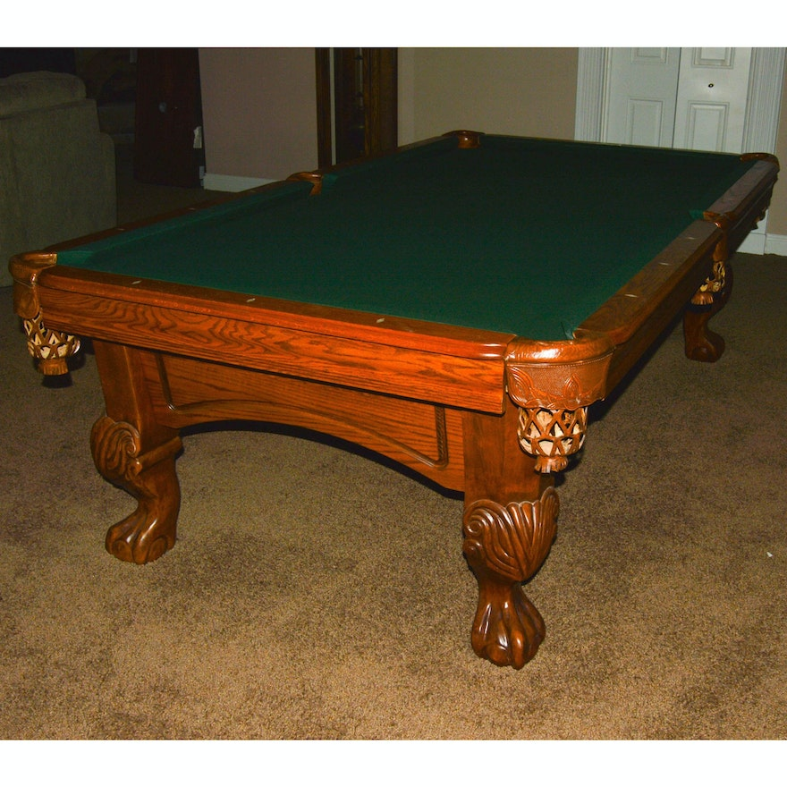 World Of Leisure Ornate Oak Pool Table EBTH - World of leisure pool table