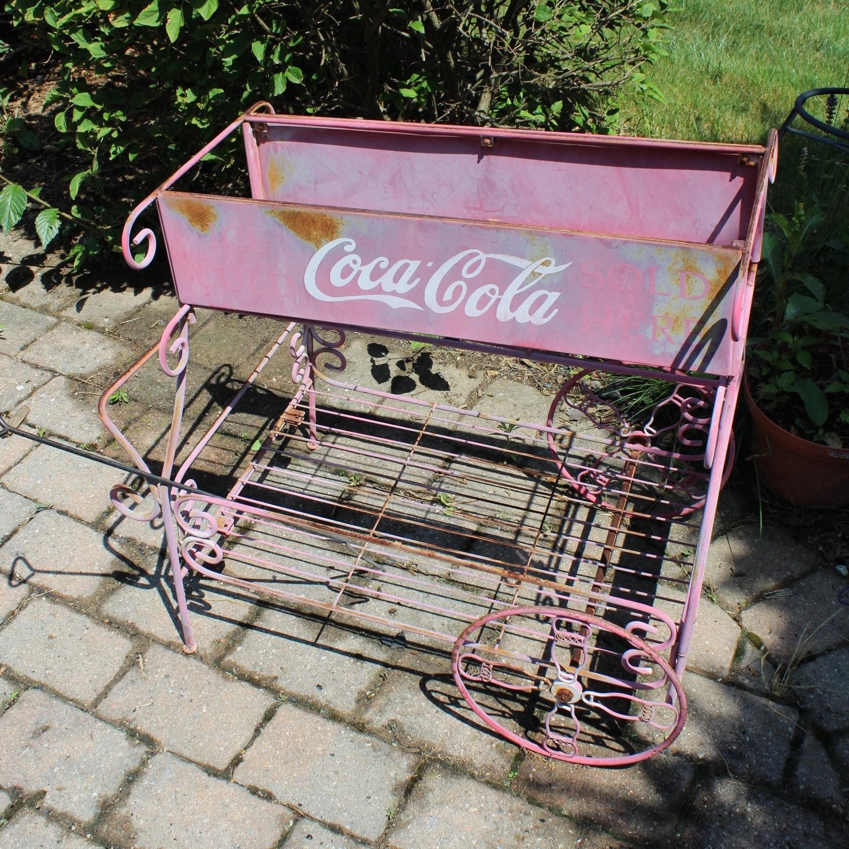 Vintage Coca Cola Metal Cart