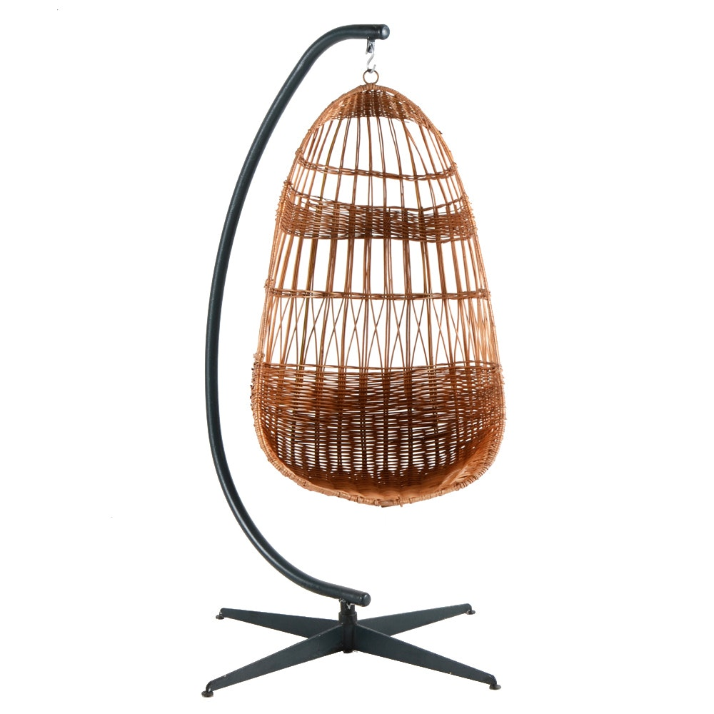 Hanging Wicker Egg Chair on Stand : EBTH