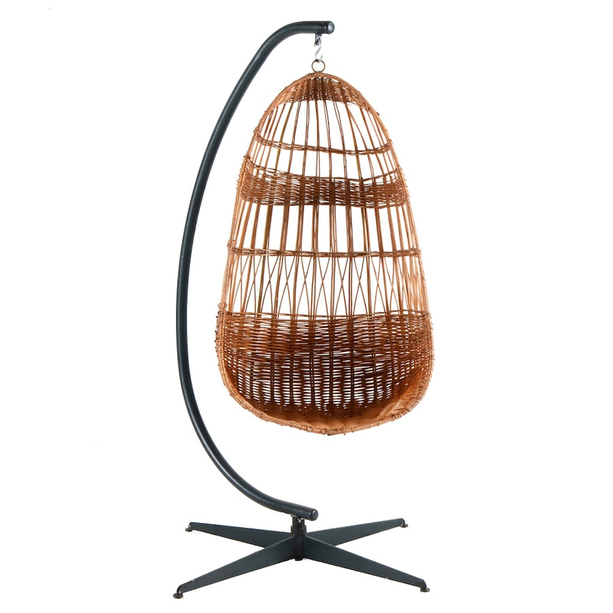 Hanging wicker egg chair on stand ebth for Suspended egg chair