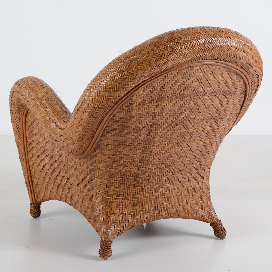 Pottery Barn Quot Malabar Quot Woven Lounge Chair And Ottoman Ebth