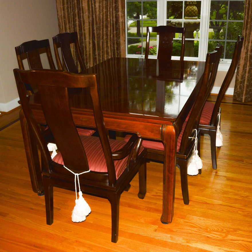 Asian Inspired Dining Table And Chairs