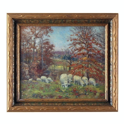Charles Meurer Late 19th Century Pastoral Oil Painting