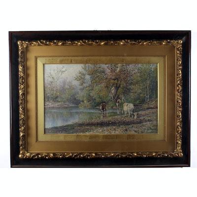 Thomas Corwin Lindsay Large Pastoral Lanscape Oil Painting