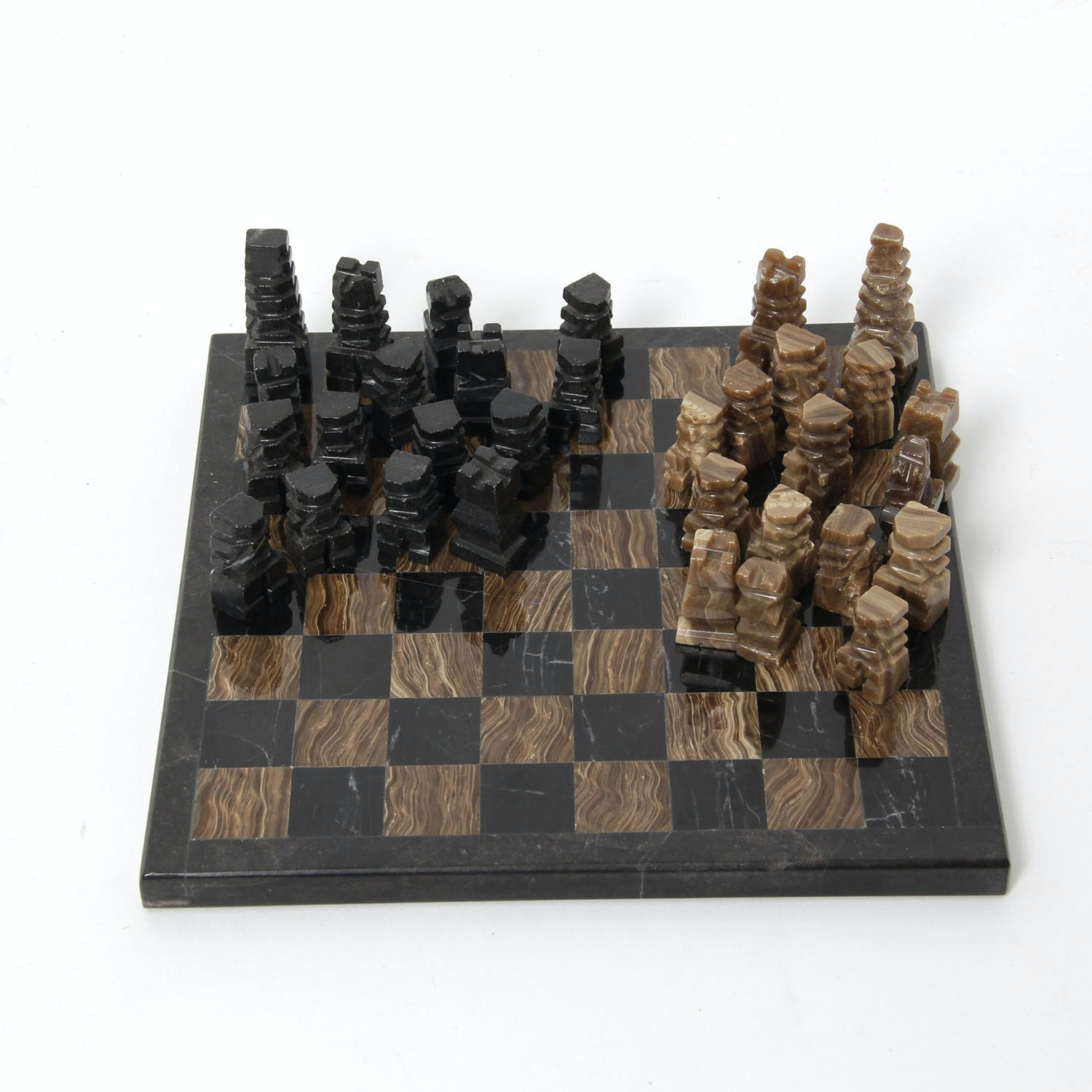 Hand Crafted Stone Chess Set with Carved Stone Game Pieces
