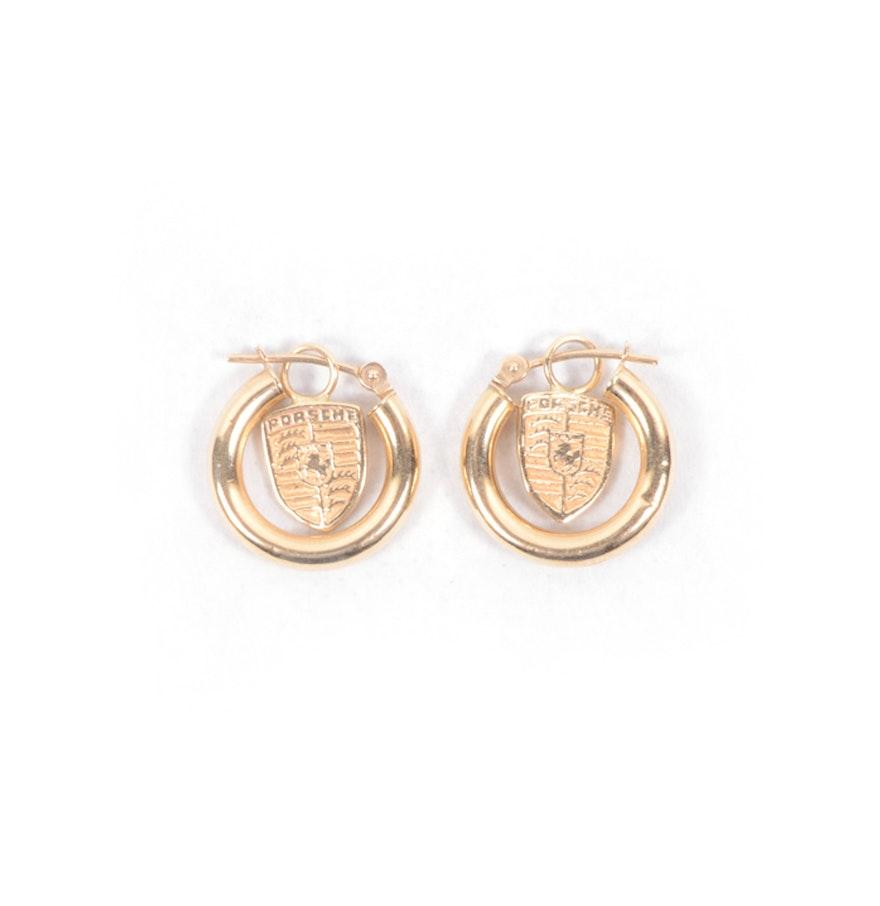 14k Yellow Gold Custom Made Porsche Earrings