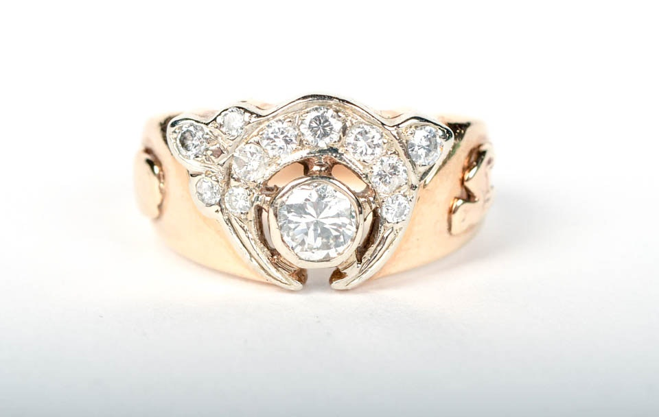 Yellow Gold and Diamond Masonic Ring
