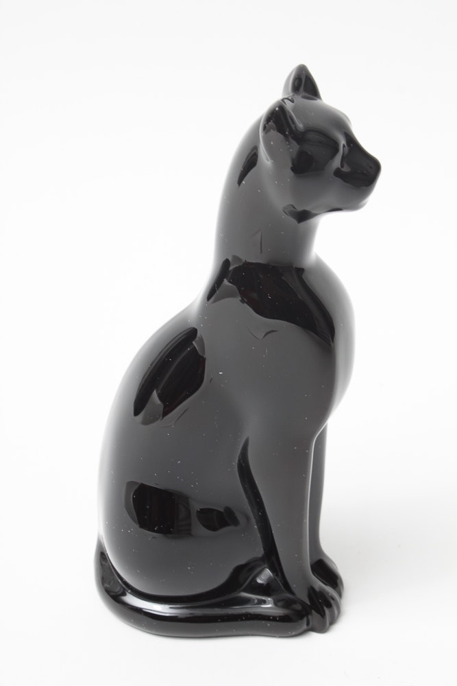 Baccarat Crystal Black Cat Art Glass Paperweight France