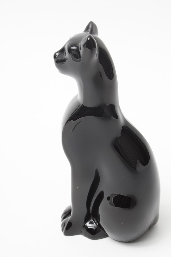Baccarat Black Crystal Egyptian Cat Figurine | EBTH