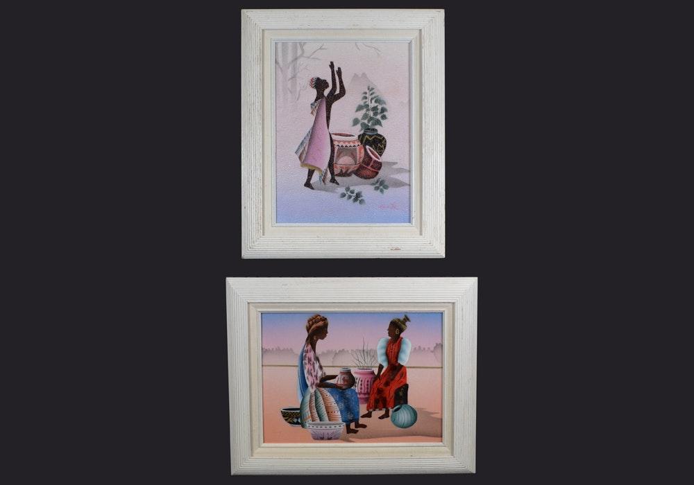 Pair Of Ethnic Silkscreen Prints Ebth