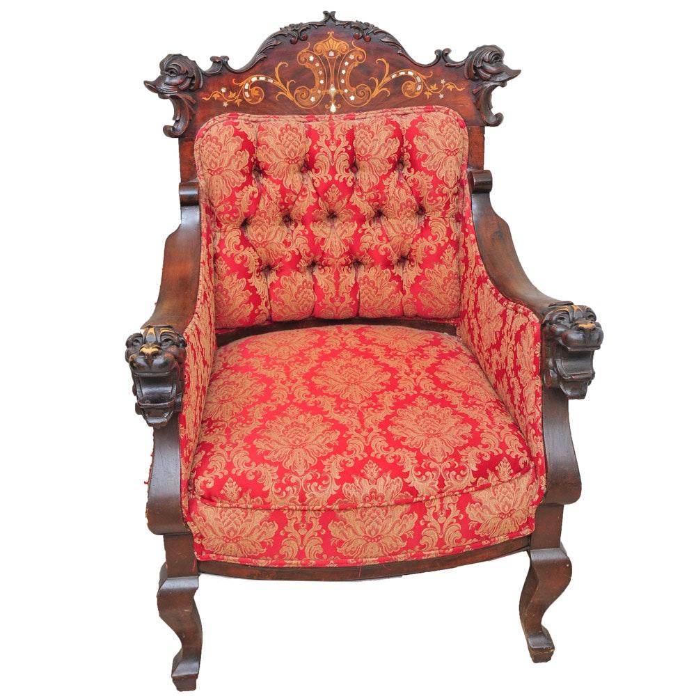 Antique Italian Renaissance Revival Lion's Head Armchair